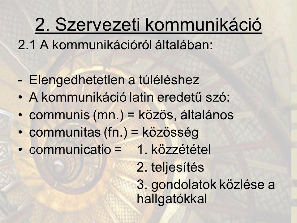 2. Szervezeti kommunikáció 2.1 A kommunikációról általában: -Elengedhetetlen a túléléshez A kommunikáció latin eredetű szó: communis (mn.) = közös, ál