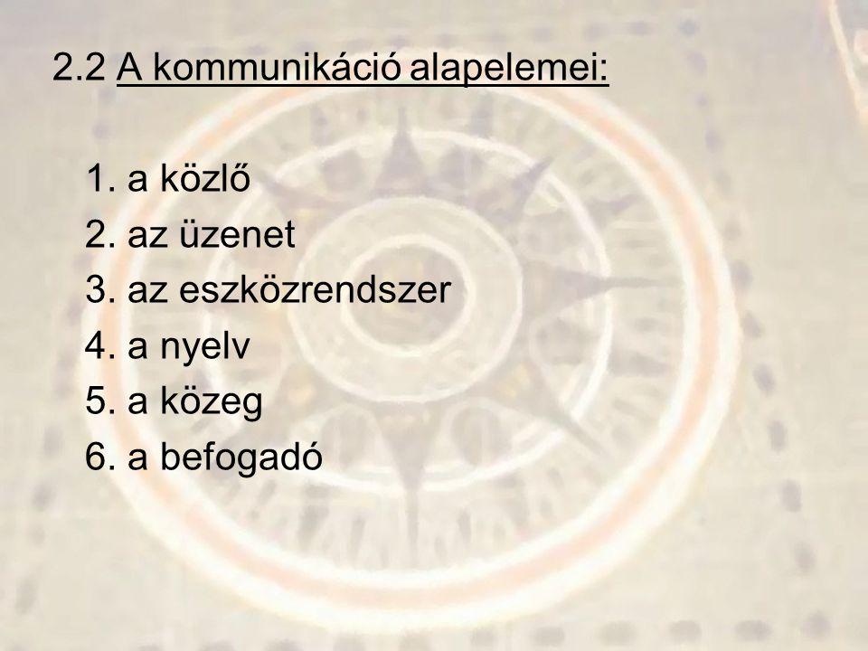 2.2 A kommunikáció alapelemei: 1. a közlő 2. az üzenet 3. az eszközrendszer 4. a nyelv 5. a közeg 6. a befogadó