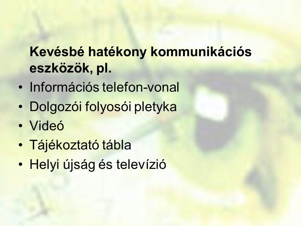 Kevésbé hatékony kommunikációs eszközök, pl. Információs telefon-vonal Dolgozói folyosói pletyka Videó Tájékoztató tábla Helyi újság és televízió