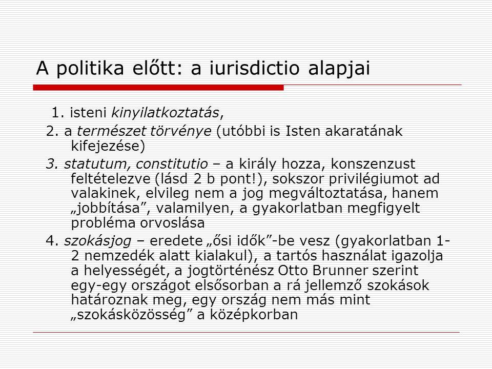 A politika előtt: a iurisdictio alapjai 1. isteni kinyilatkoztatás, 2.