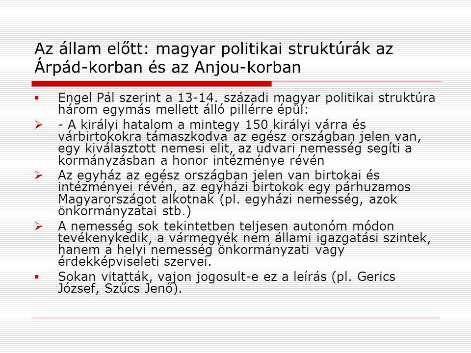 Az állam előtt: magyar politikai struktúrák az Árpád-korban és az Anjou-korban  Engel Pál szerint a 13-14.