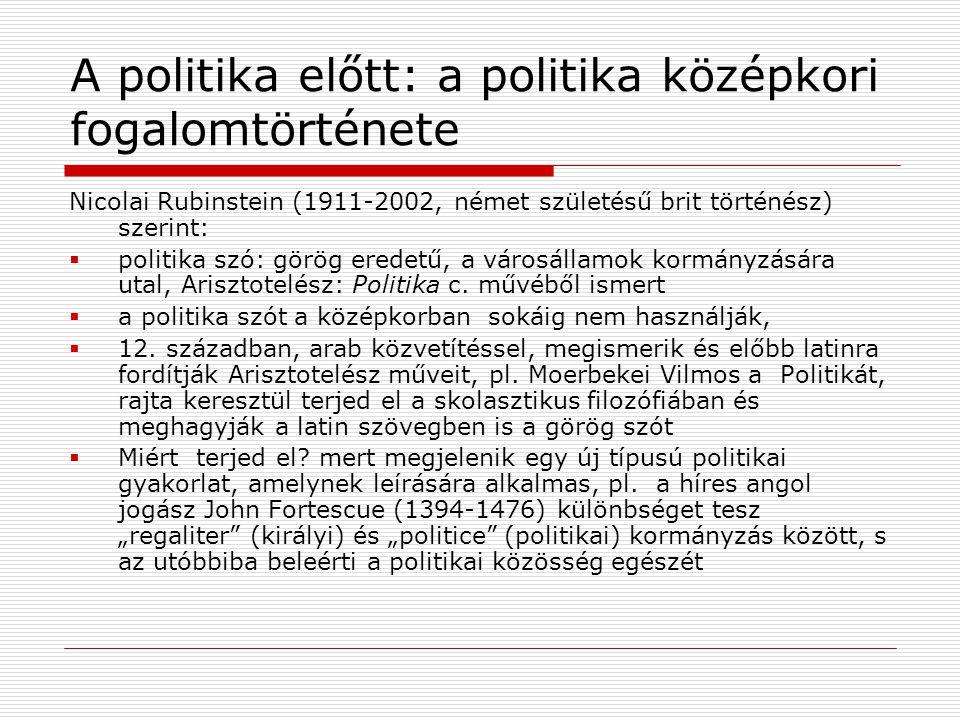 A politika előtt: a politika középkori fogalomtörténete Nicolai Rubinstein (1911-2002, német születésű brit történész) szerint:  politika szó: görög eredetű, a városállamok kormányzására utal, Arisztotelész: Politika c.