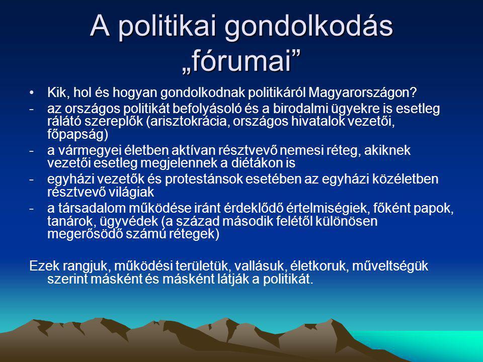 """A politikai gondolkodás """"fórumai"""" Kik, hol és hogyan gondolkodnak politikáról Magyarországon? -az országos politikát befolyásoló és a birodalmi ügyekr"""