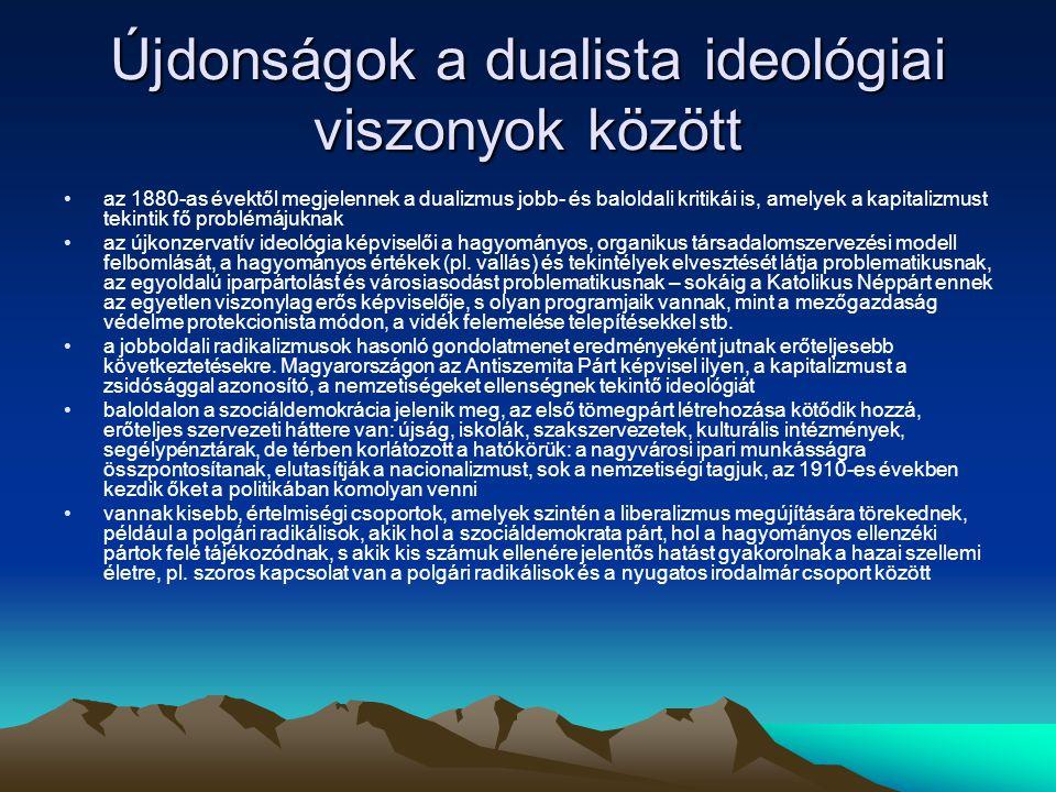 Újdonságok a dualista ideológiai viszonyok között az 1880-as évektől megjelennek a dualizmus jobb- és baloldali kritikái is, amelyek a kapitalizmust tekintik fő problémájuknak az újkonzervatív ideológia képviselői a hagyományos, organikus társadalomszervezési modell felbomlását, a hagyományos értékek (pl.