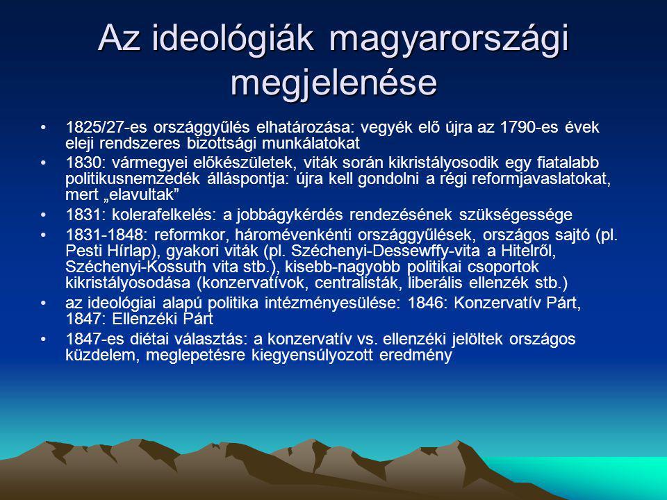 Az ideológiák magyarországi megjelenése 1825/27-es országgyűlés elhatározása: vegyék elő újra az 1790-es évek eleji rendszeres bizottsági munkálatokat