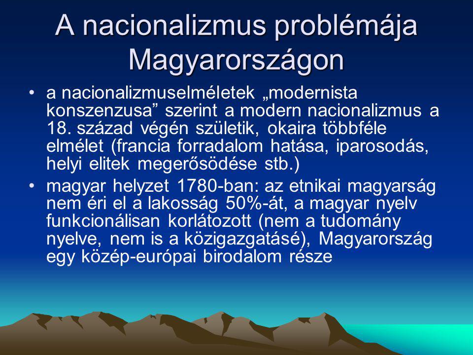 """A nacionalizmus problémája Magyarországon a nacionalizmuselméletek """"modernista konszenzusa"""" szerint a modern nacionalizmus a 18. század végén születik"""