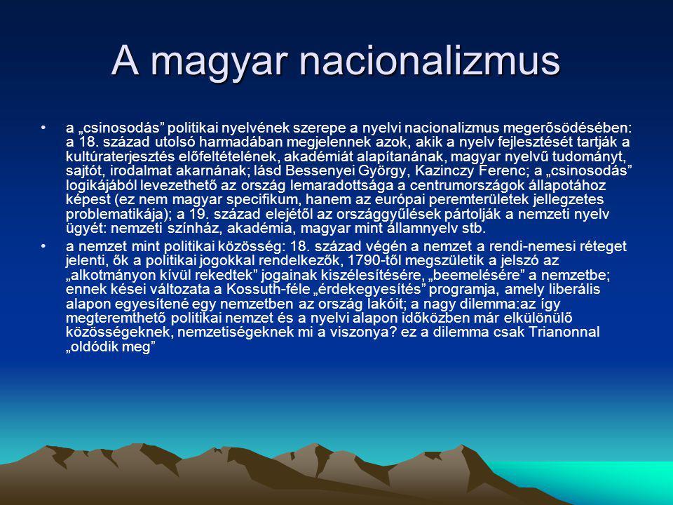 """A magyar nacionalizmus a """"csinosodás"""" politikai nyelvének szerepe a nyelvi nacionalizmus megerősödésében: a 18. század utolsó harmadában megjelennek a"""