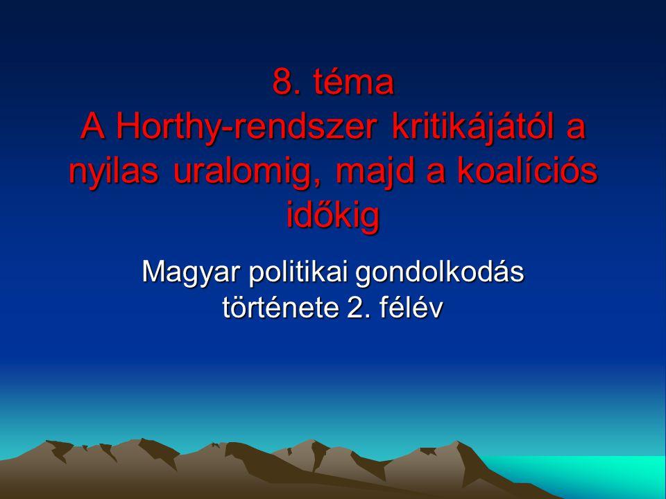 8. téma A Horthy-rendszer kritikájától a nyilas uralomig, majd a koalíciós időkig Magyar politikai gondolkodás története 2. félév