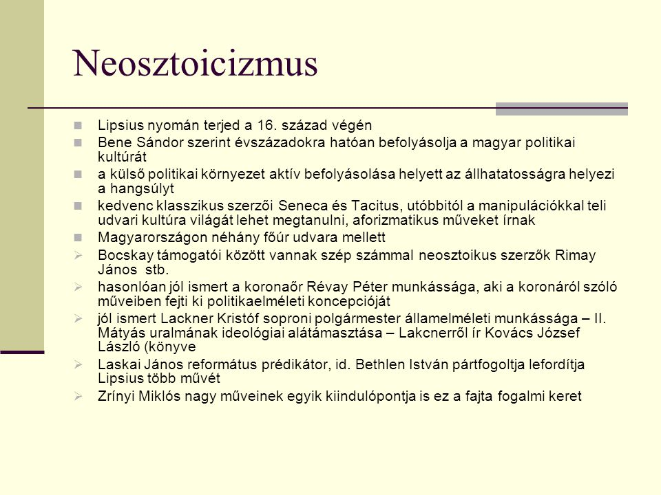 Neosztoicizmus Lipsius nyomán terjed a 16.