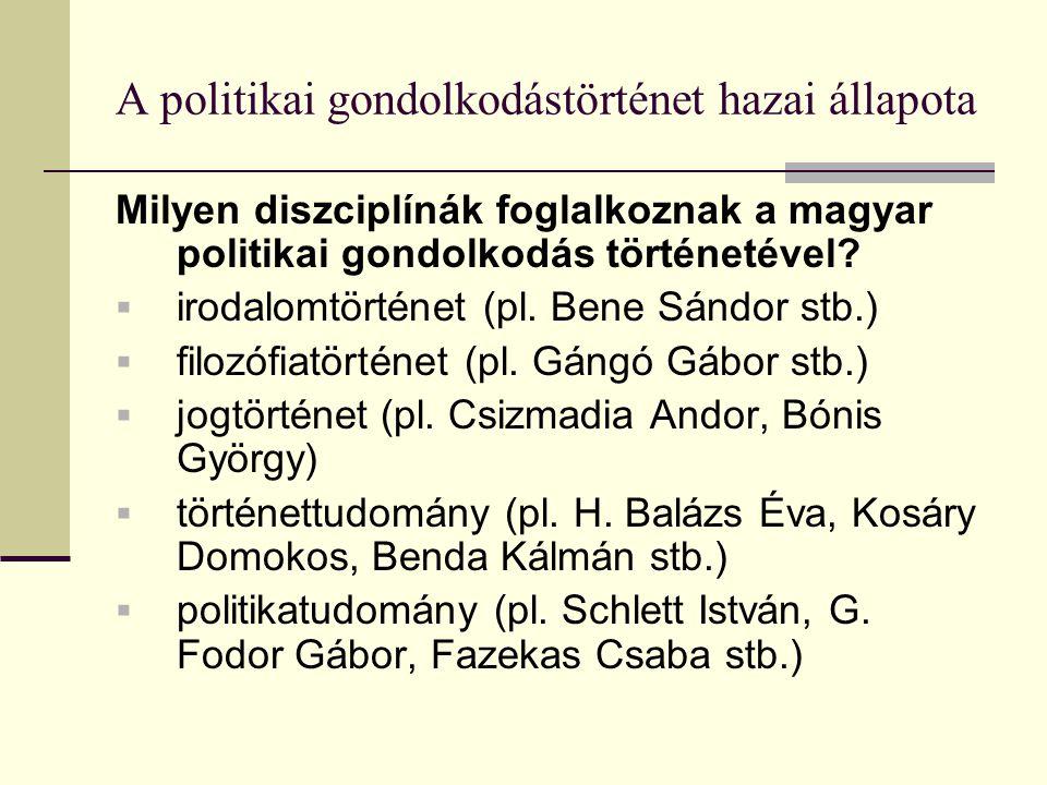 A politikai gondolkodástörténet hazai állapota Milyen diszciplínák foglalkoznak a magyar politikai gondolkodás történetével.