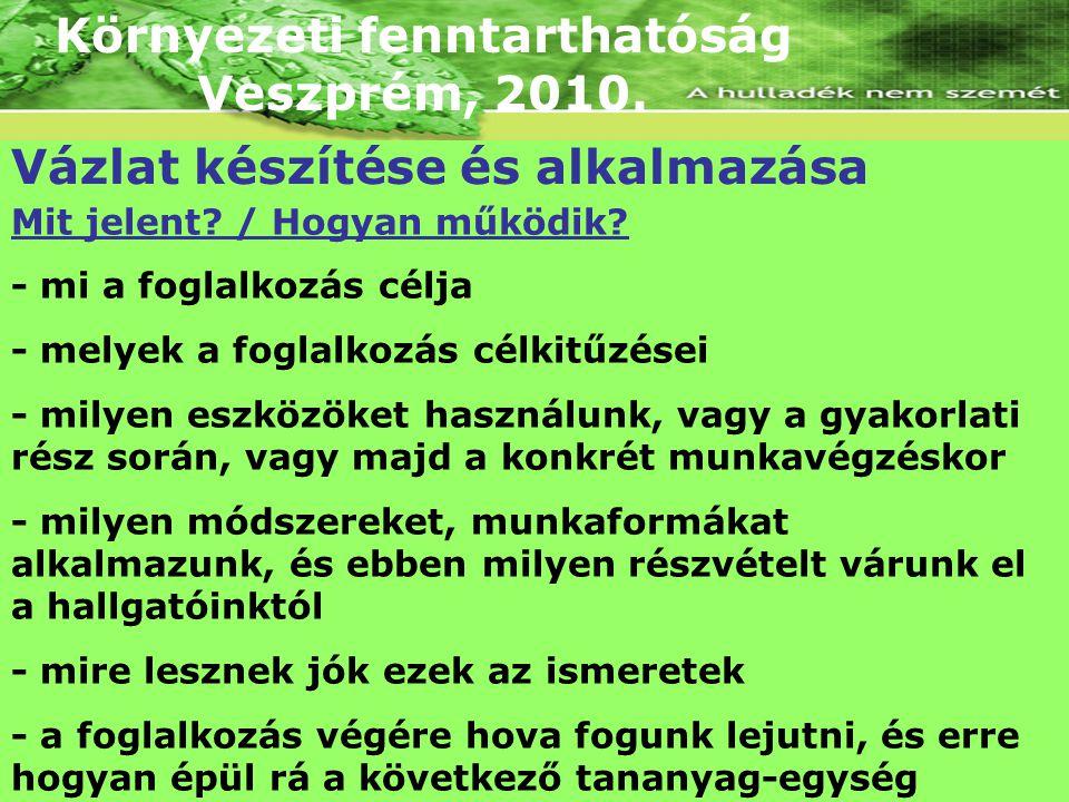 Környezeti fenntarthatóság Veszprém, 2010. Vázlat készítése és alkalmazása Mit jelent? / Hogyan működik? - mi a foglalkozás célja - melyek a foglalkoz