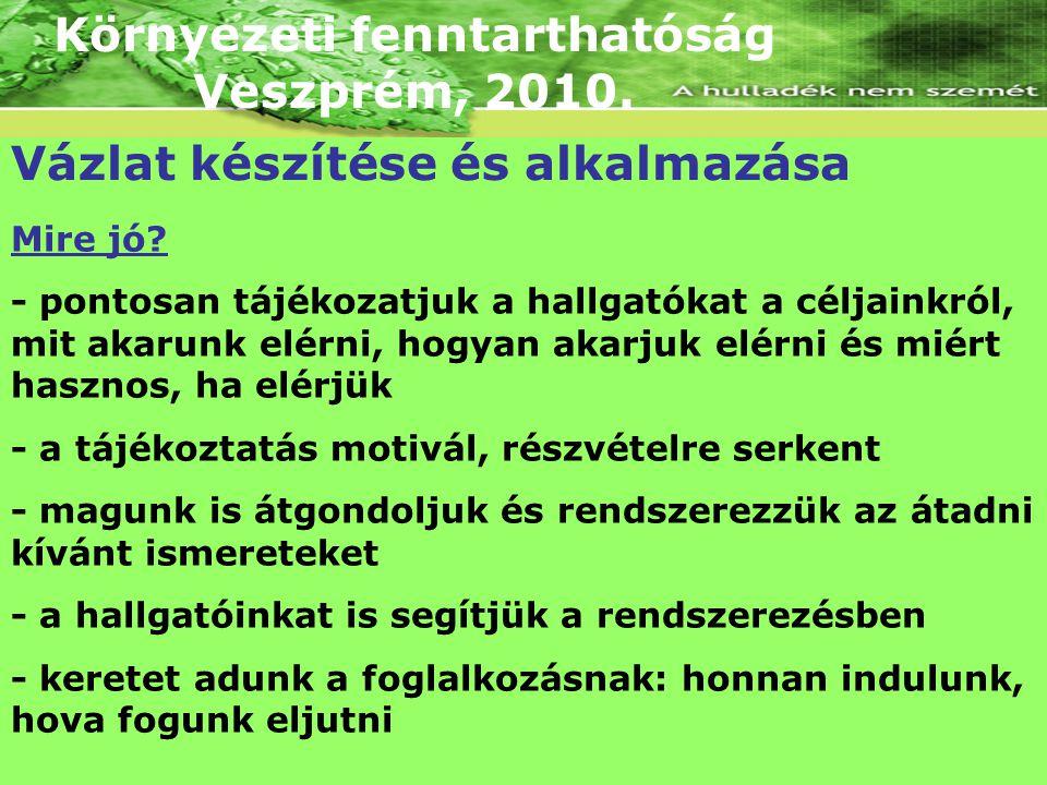 Környezeti fenntarthatóság Veszprém, 2010. Vázlat készítése és alkalmazása Mire jó? - pontosan tájékozatjuk a hallgatókat a céljainkról, mit akarunk e