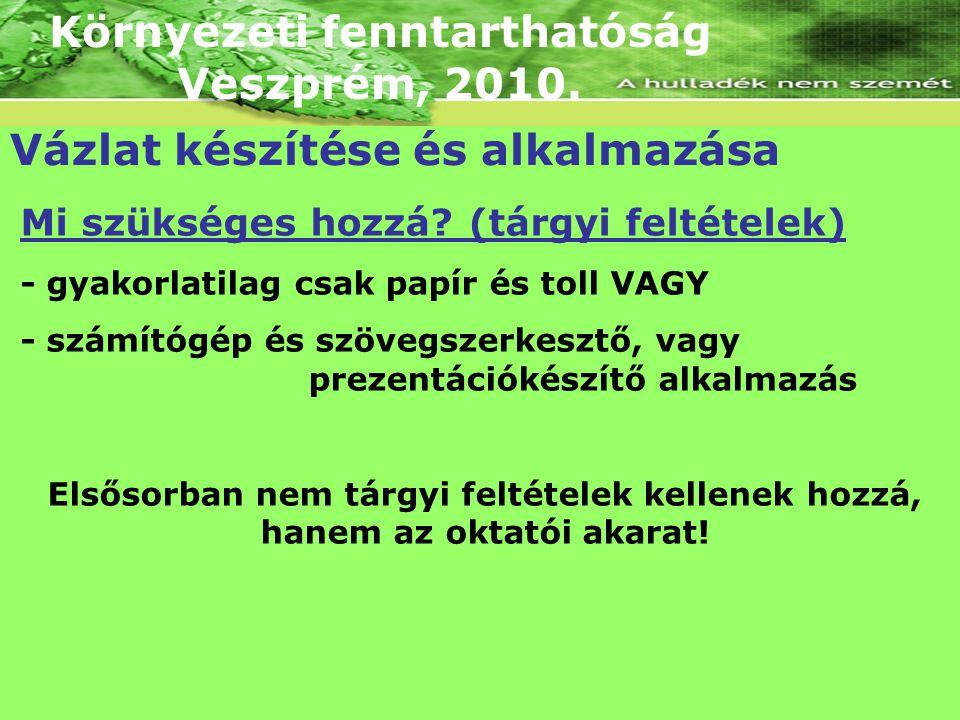 Környezeti fenntarthatóság Veszprém, 2010. Vázlat készítése és alkalmazása Mi szükséges hozzá? (tárgyi feltételek) - gyakorlatilag csak papír és toll