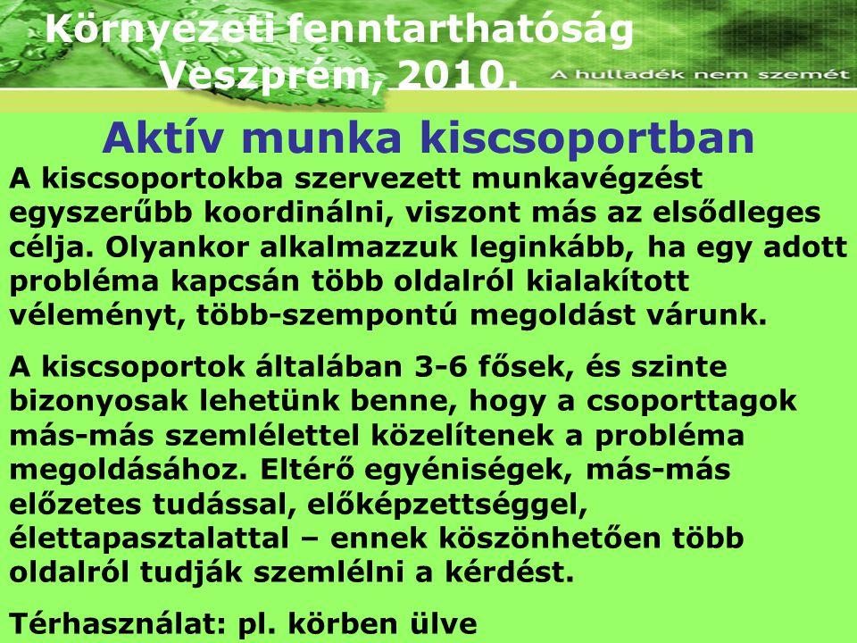 Környezeti fenntarthatóság Veszprém, 2010. A kiscsoportokba szervezett munkavégzést egyszerűbb koordinálni, viszont más az elsődleges célja. Olyankor