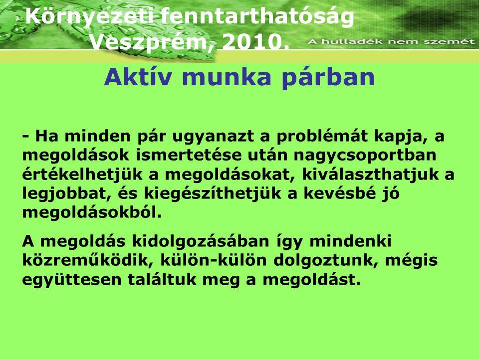 Környezeti fenntarthatóság Veszprém, 2010. - Ha minden pár ugyanazt a problémát kapja, a megoldások ismertetése után nagycsoportban értékelhetjük a me
