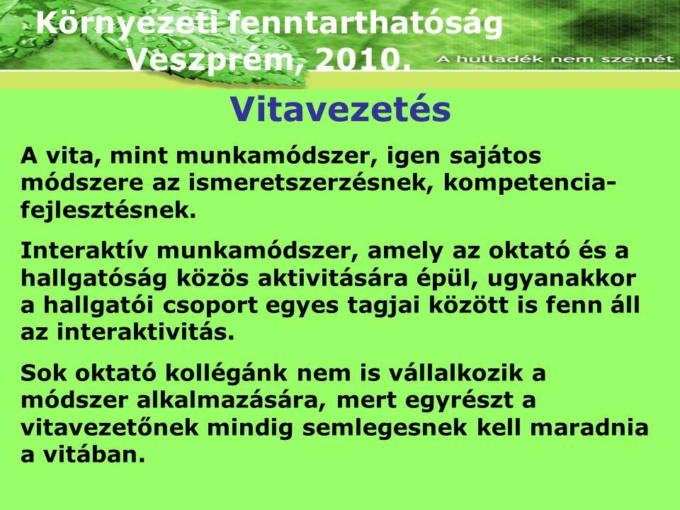 Környezeti fenntarthatóság Veszprém, 2010. A vita, mint munkamódszer, igen sajátos módszere az ismeretszerzésnek, kompetencia- fejlesztésnek. Interakt