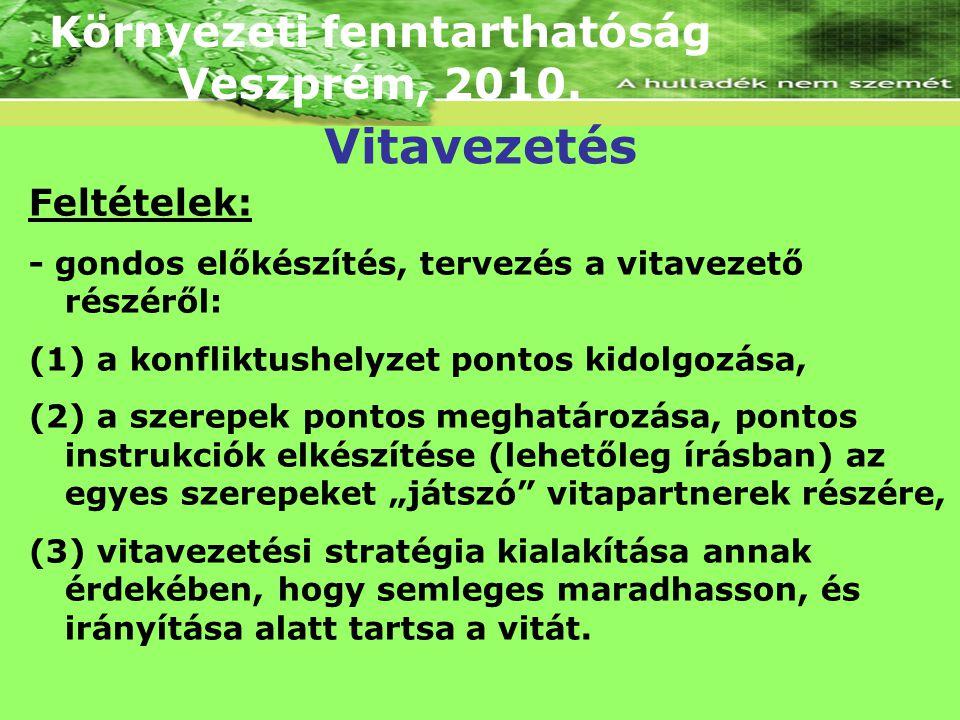 Környezeti fenntarthatóság Veszprém, 2010. Feltételek: - gondos előkészítés, tervezés a vitavezető részéről: (1) a konfliktushelyzet pontos kidolgozás
