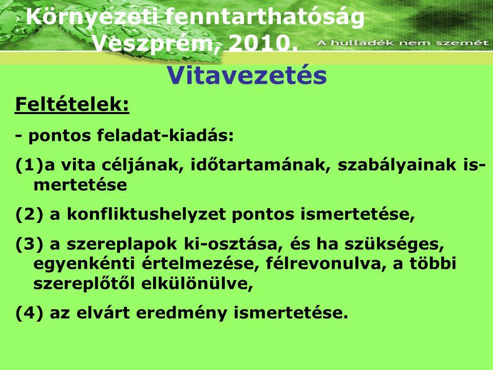 Környezeti fenntarthatóság Veszprém, 2010. Feltételek: - pontos feladat-kiadás: (1)a vita céljának, időtartamának, szabályainak is- mertetése (2) a ko