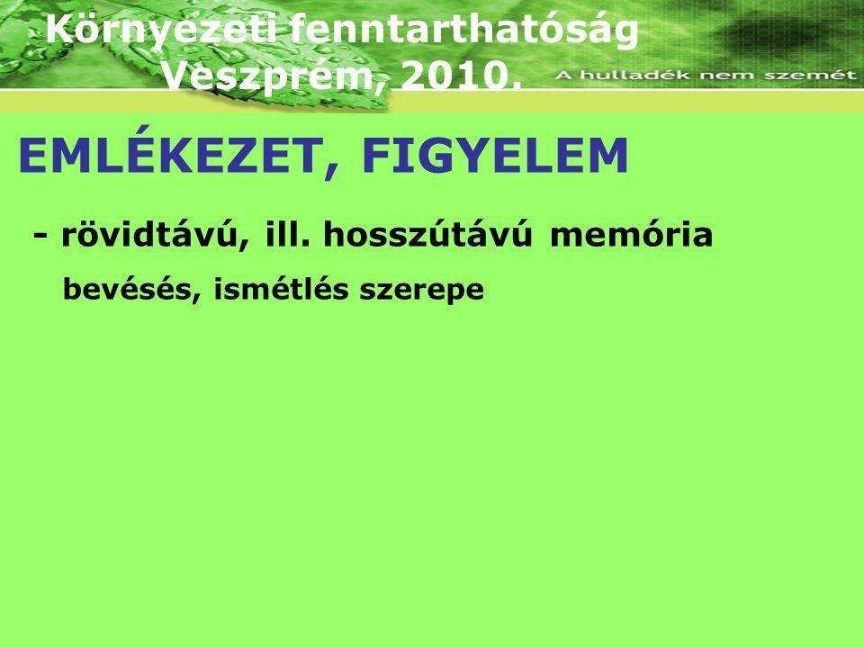 Környezeti fenntarthatóság Veszprém, 2010. EMLÉKEZET, FIGYELEM - rövidtávú, ill. hosszútávú memória bevésés, ismétlés szerepe