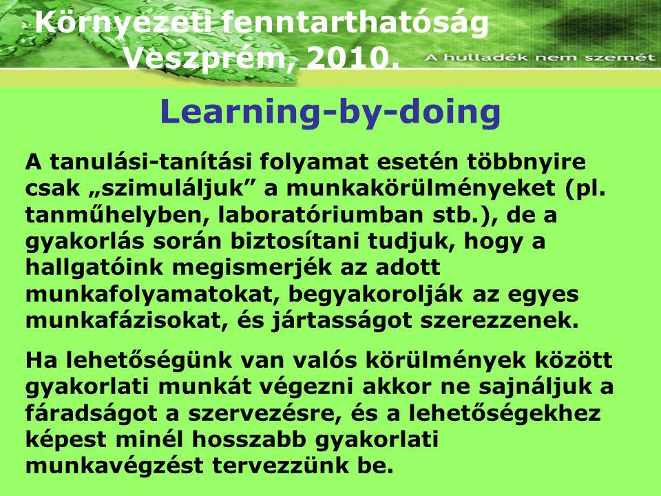 """Környezeti fenntarthatóság Veszprém, 2010. A tanulási-tanítási folyamat esetén többnyire csak """"szimuláljuk"""" a munkakörülményeket (pl. tanműhelyben, la"""