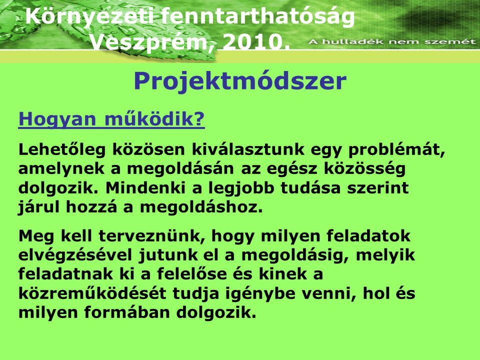 Környezeti fenntarthatóság Veszprém, 2010. Hogyan működik? Lehetőleg közösen kiválasztunk egy problémát, amelynek a megoldásán az egész közösség dolgo