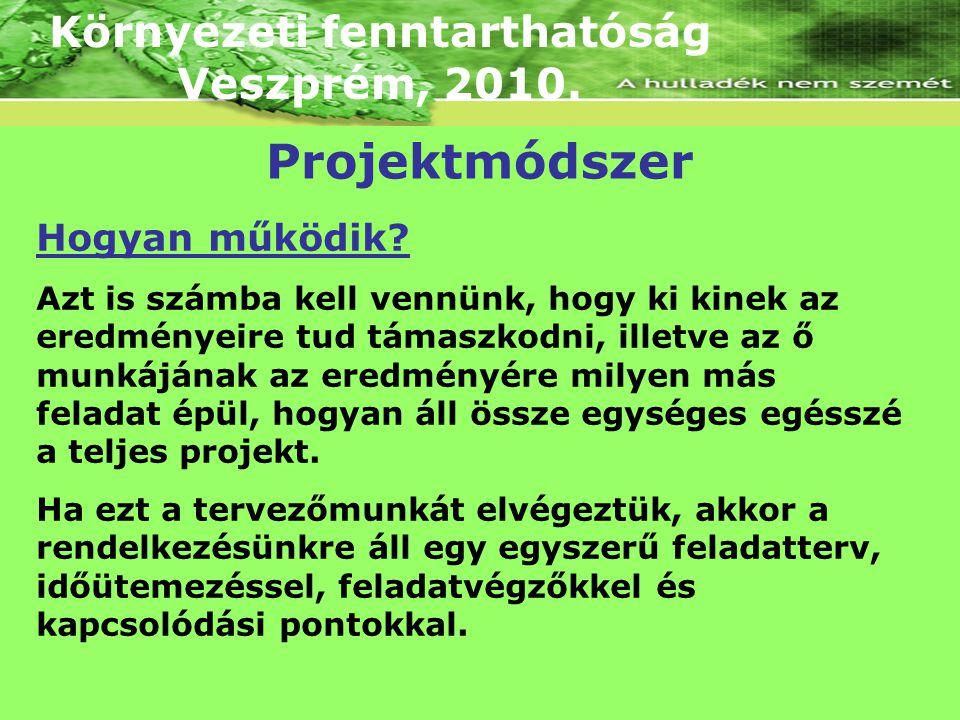 Környezeti fenntarthatóság Veszprém, 2010. Hogyan működik? Azt is számba kell vennünk, hogy ki kinek az eredményeire tud támaszkodni, illetve az ő mun