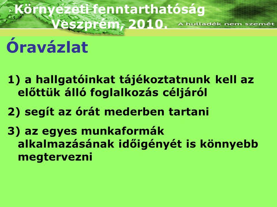 Környezeti fenntarthatóság Veszprém, 2010. Óravázlat 1) a hallgatóinkat tájékoztatnunk kell az előttük álló foglalkozás céljáról 2) segít az órát mede