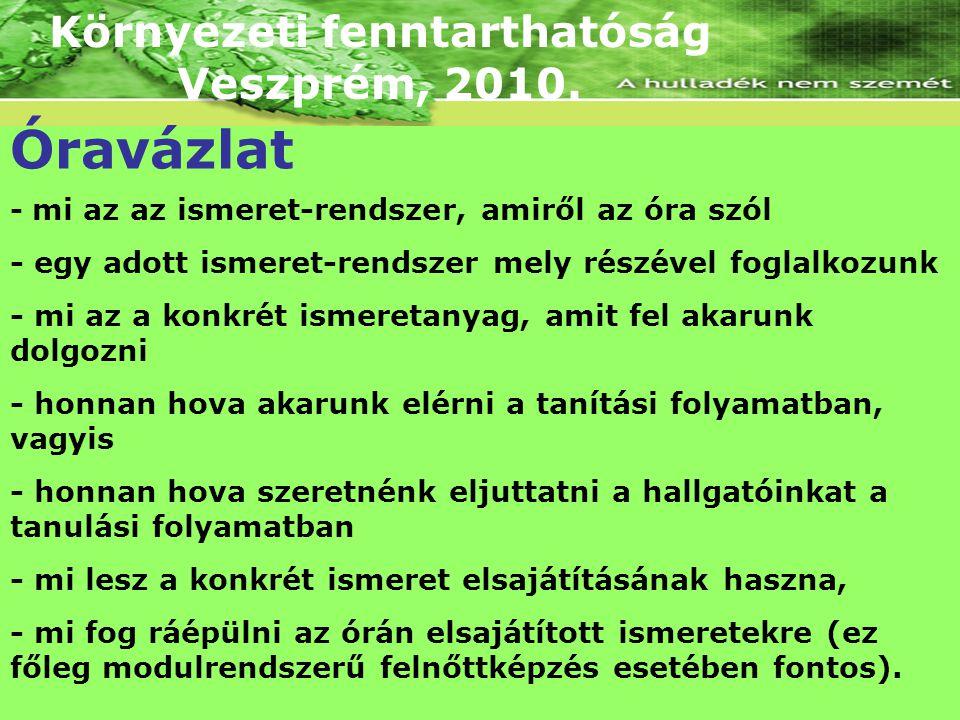 Környezeti fenntarthatóság Veszprém, 2010. Óravázlat - mi az az ismeret-rendszer, amiről az óra szól - egy adott ismeret-rendszer mely részével foglal