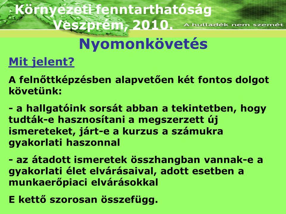 Környezeti fenntarthatóság Veszprém, 2010. Mit jelent? A felnőttképzésben alapvetően két fontos dolgot követünk: - a hallgatóink sorsát abban a tekint