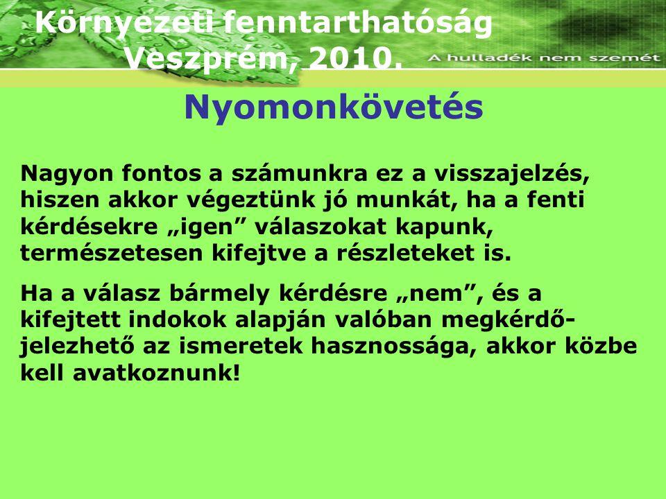 """Környezeti fenntarthatóság Veszprém, 2010. Nagyon fontos a számunkra ez a visszajelzés, hiszen akkor végeztünk jó munkát, ha a fenti kérdésekre """"igen"""""""