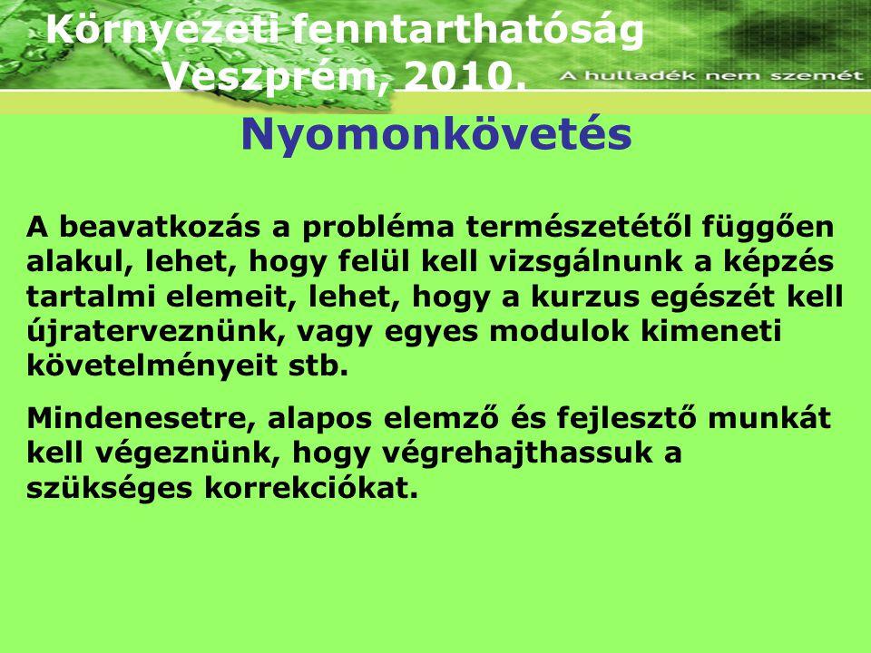 Környezeti fenntarthatóság Veszprém, 2010. A beavatkozás a probléma természetétől függően alakul, lehet, hogy felül kell vizsgálnunk a képzés tartalmi
