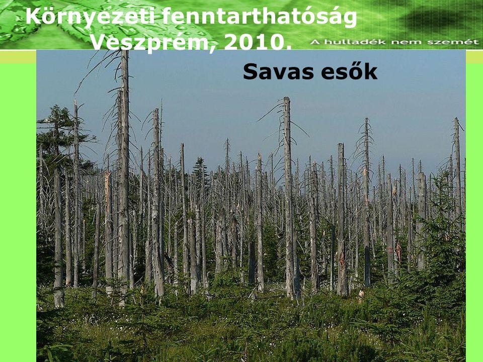 Környezeti fenntarthatóság Veszprém, 2010. Savas esők