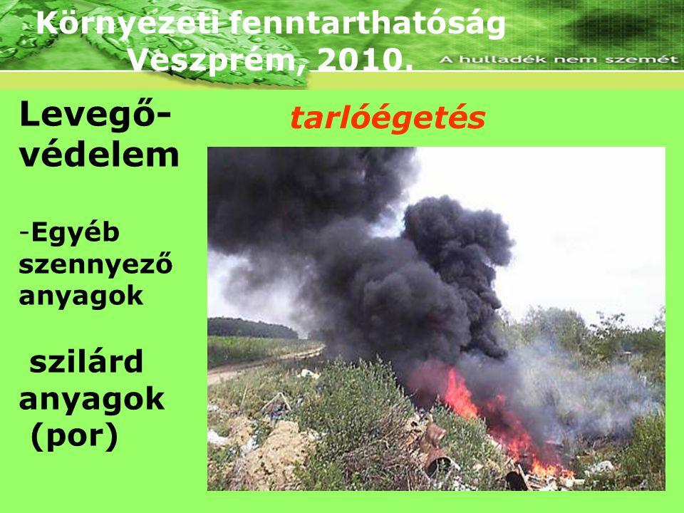 Környezeti fenntarthatóság Veszprém, 2010. Levegő- védelem -Egyéb szennyező anyagok szilárd anyagok (por) tarlóégetés