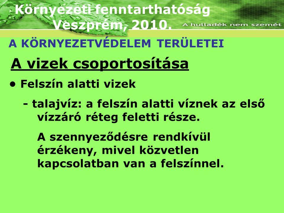 Környezeti fenntarthatóság Veszprém, 2010. A KÖRNYEZETVÉDELEM TERÜLETEI A vizek csoportosítása Felszín alatti vizek - talajvíz: a felszín alatti vízne