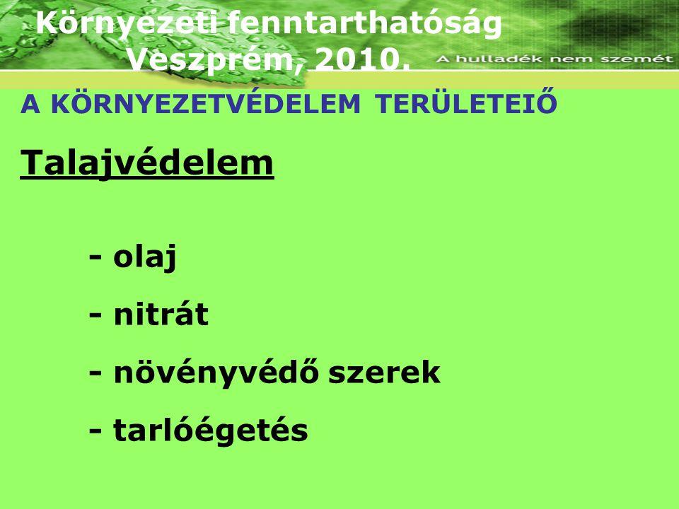 Környezeti fenntarthatóság Veszprém, 2010. A KÖRNYEZETVÉDELEM TERÜLETEIŐ Talajvédelem - olaj - nitrát - növényvédő szerek - tarlóégetés