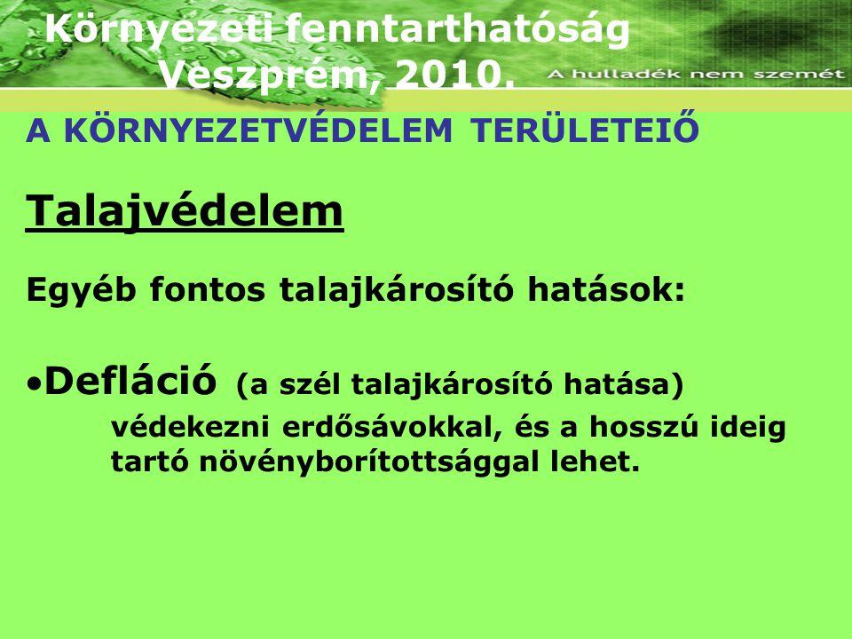 Környezeti fenntarthatóság Veszprém, 2010. A KÖRNYEZETVÉDELEM TERÜLETEIŐ Talajvédelem Egyéb fontos talajkárosító hatások: Defláció (a szél talajkáros