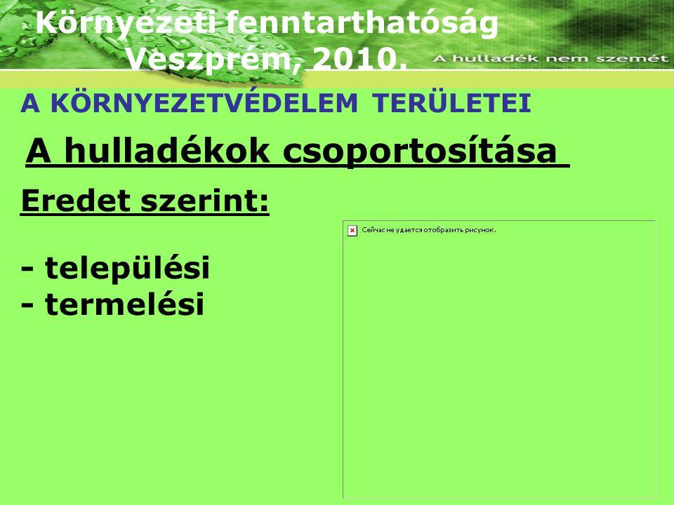 Környezeti fenntarthatóság Veszprém, 2010. A KÖRNYEZETVÉDELEM TERÜLETEI A hulladékok csoportosítása Eredet szerint: - települési - termelési