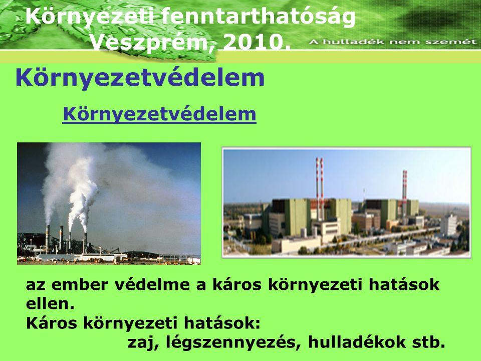 Környezeti fenntarthatóság Veszprém, 2010. Környezetvédelem az ember védelme a káros környezeti hatások ellen. Káros környezeti hatások: zaj, légszenn