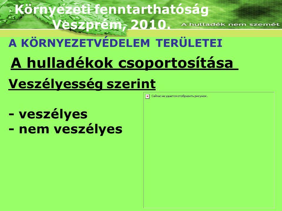 Környezeti fenntarthatóság Veszprém, 2010. A KÖRNYEZETVÉDELEM TERÜLETEI A hulladékok csoportosítása Veszélyesség szerint - veszélyes - nem veszélyes