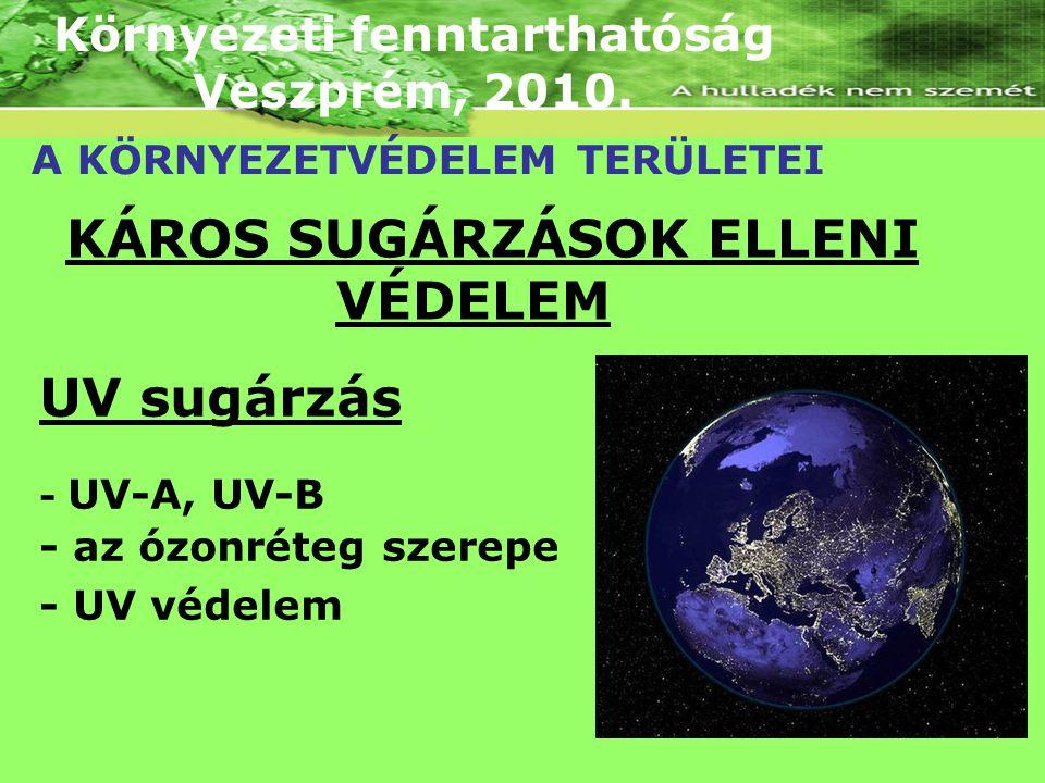 Környezeti fenntarthatóság Veszprém, 2010. A KÖRNYEZETVÉDELEM TERÜLETEI KÁROS SUGÁRZÁSOK ELLENI VÉDELEM UV sugárzás - UV-A, UV-B - az ózonréteg szerep