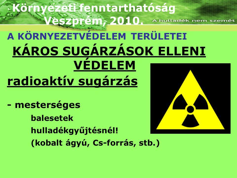 Környezeti fenntarthatóság Veszprém, 2010. A KÖRNYEZETVÉDELEM TERÜLETEI KÁROS SUGÁRZÁSOK ELLENI VÉDELEM radioaktív sugárzás - mesterséges balesetek hu