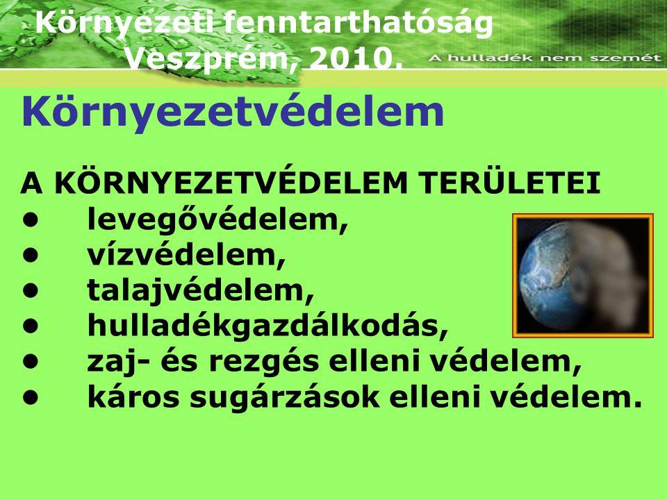 Környezeti fenntarthatóság Veszprém, 2010. Környezetvédelem A KÖRNYEZETVÉDELEM TERÜLETEI levegővédelem, vízvédelem, talajvédelem, hulladékgazdálkodás,
