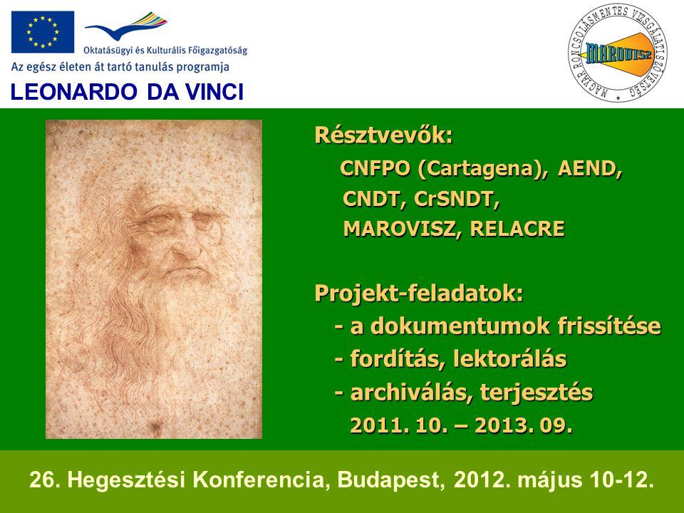 Résztvevők: CNFPO (Cartagena), AEND, CNDT, CrSNDT, MAROVISZ, RELACRE Projekt-feladatok: - a dokumentumok frissítése - fordítás, lektorálás - archiválá