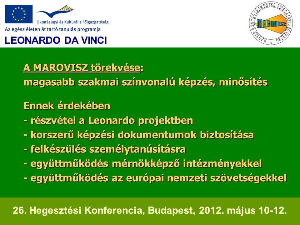 A MAROVISZ törekvése: magasabb szakmai színvonalú képzés, minősítés Ennek érdekében - részvétel a Leonardo projektben - korszerű képzési dokumentumok biztosítása - felkészülés személytanúsításra - együttműködés mérnökképző intézményekkel - együttműködés az európai nemzeti szövetségekkel A MAROVISZ törekvése: magasabb szakmai színvonalú képzés, minősítés Ennek érdekében - részvétel a Leonardo projektben - korszerű képzési dokumentumok biztosítása - felkészülés személytanúsításra - együttműködés mérnökképző intézményekkel - együttműködés az európai nemzeti szövetségekkel LEONARDO DA VINCI 26.