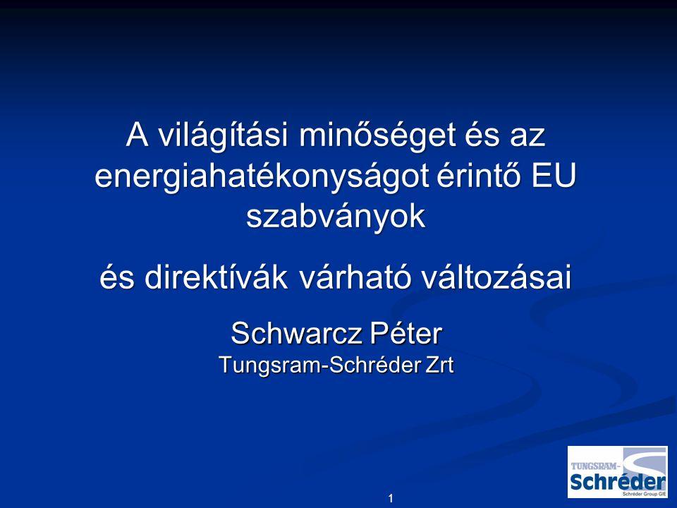 1 A világítási minőséget és az energiahatékonyságot érintő EU szabványok és direktívák várható változásai Schwarcz Péter Tungsram-Schréder Zrt