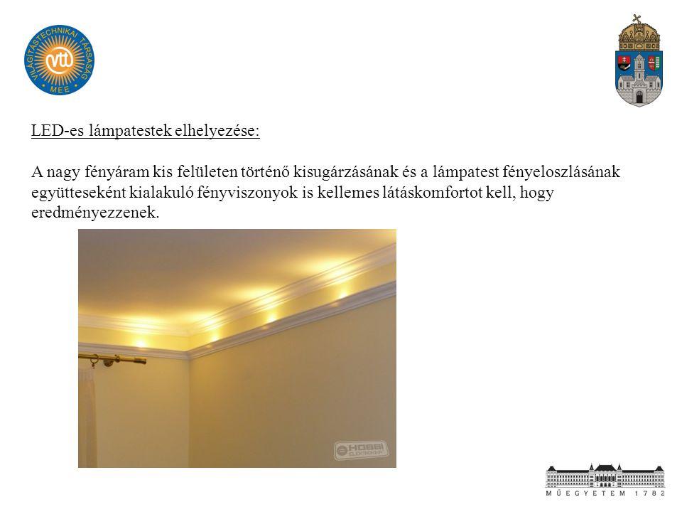LED-es lámpatestek elhelyezése: A nagy fényáram kis felületen történő kisugárzásának és a lámpatest fényeloszlásának együtteseként kialakuló fényviszo