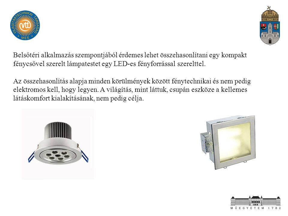 Belsőtéri alkalmazás szempontjából érdemes lehet összehasonlítani egy kompakt fénycsővel szerelt lámpatestet egy LED-es fényforrással szerelttel. Az ö