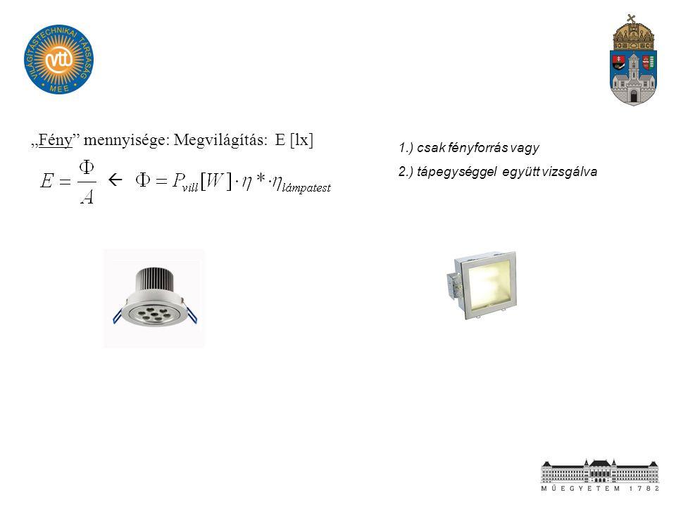 """""""Fény"""" mennyisége: Megvilágítás: E [lx]  1.) csak fényforrás vagy 2.) tápegységgel együtt vizsgálva"""