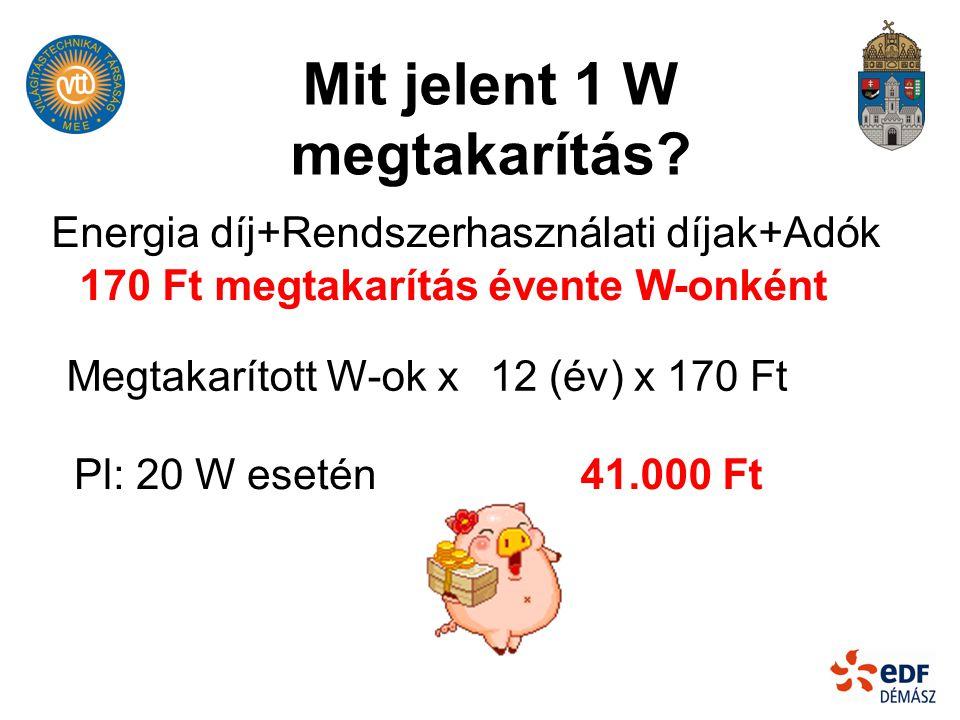 Energia díj+Rendszerhasználati díjak+Adók Mit jelent 1 W megtakarítás? 170 Ft megtakarítás évente W-onként Megtakarított W-ok x Pl: 20 W esetén 12 (év