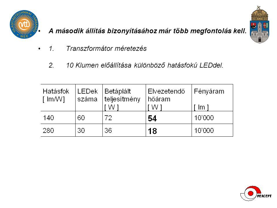 A második állítás bizonyításához már több megfontolás kell. 1. Transzformátor méretezés 2. 10 Klumen előállítása különböző hatásfokú LEDdel.